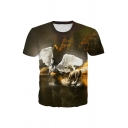 Unique Guys 3D Unicorn Printed Short Sleeve Crew Neck Slim Fitted T Shirt