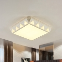 Triangle-Side Square LED Flush Mount Lamp Simple White Crystal Embedding Ceiling Fixture