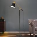 Truncated Cone Shade Iron Floor Lighting Modern 1-Light Black Standing Lamp with Balance Arm