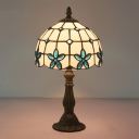 Victorian Domed Table Lighting 1-Light Stained Glass Lilac Patterned Night Light in Red/Yellow/Blue for Bedroom