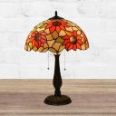2-Head Desk Lighting Victorian Stained Art Glass Pull Chain Night Light in Bronze with Sunflower Pattern