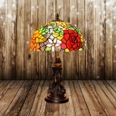 Dome Stained Art Glass Table Lamp Mediterranean 1-Light Red/Orange Rose Patterned Nightstand Lighting