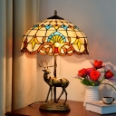 Bowl Cut Glass Nightstand Lighting Tiffany 2-Light Beige/Blue and White Pull Chain Desk Lamp with Resin Deer Base