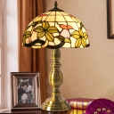 Tiffany Half-Globe Table Light Single Hand-Cut Stained Glass Nightstand Lamp in Brushed Brass