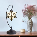 1-Bulb Star Shape Night Table Lamp Baroque Silver/White/Clear Glass Nightstand Light for Bedside