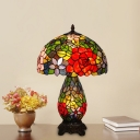 1 Light Bowl Table Lamp Tiffany Style Bronze Stained Glass Flower Patterned Night Light
