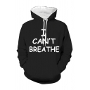 Cool Mens Letter I Can't Breathe Printed Long Sleeve Drawstring Loose Fit Black Hoodie with Pocket