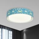 Animal-Print Fabric Drum Ceiling Fixture Cartoon Blue/Beige LED Flush Mount Recessed Lighting