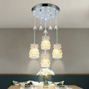 Chrome Cup Cluster Pendant Light Contemporary Crystal Block 4-Bulb Restaurant Hanging Lamp