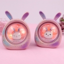 Resin Rabbit in Capsule Nightstand Lamp Kids Battery Powered LED Table Light in Pink/Purple