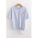 Pretty Girls Rabbit Paw Embroidered Chest Pocket Bow Tie Hem Loose Fit T Shirt
