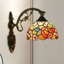 Stained Glass Red/Pink/Orange Wall Lamp Flower Pattern 1 Bulb Tiffany Style Wall Sconce Light