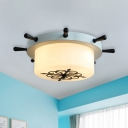 Drum Shaped Rudder Ceiling Lamp Kids Opal Frosted Glass 3 Heads Bedroom Flushmount in White/Light-Blue/Blackish Green