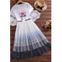 Simple Girls Cat Printed Short Sleeve Crew Neck Regular Fit Tee & Sequins Tiered Ombre Mesh Mid Pleated A-line Skirt Set