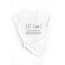 Womens Leisure Letter Fitish Printed Rolled Short Sleeve Crew Neck Regular Fitted T Shirt