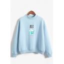 Popular Womens Letter Best Milk Graphic Long Sleeve Mock Neck Loose Pullover Sweatshirt