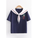 Cartoon Mermaid Letter Embroidered Short Sleeve Sailor Collar Tied Front Loose Trendy T Shirt for Women