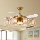 8 Lights Living Room Semi Flush Light Modernist Gold 3-Blade Ceiling Fan Light with Cylinder Crystal Rectangle Shade, 43