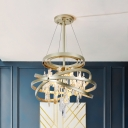 Crystal Cascade Chandelier Modern Stylish 4-Light Dining Room Pendant Light with Gold Interlocking Rings