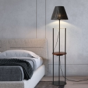 Black Parallel-Leg Reading Floor Light Nordic Single Metal Standing Lamp with Tray and Cone Pleated Fabric Shade
