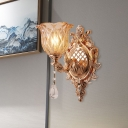 1-Light Wall Mount Lamp with Flower Shade Umber Crystal Glass Traditional Living Room Wall Lighting in Gold