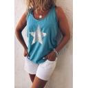 Fashion Womens Star Printed Round Neck Loose Fit Tank Top