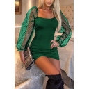 Hot Ladies Solid Color Polka Dot Sheer Mesh Long Sleeve Square Neck Mini Tight Dress