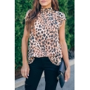 Popular Womens Leopard Printed Short Sleeve Mock Neck Bow Tie Back Loose Fit Tee Top in Coffee