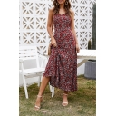 Holiday Ladies Ditsy Floral Printed V-neck Maxi A-line Cami Dress in Red