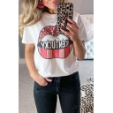 Popular Womens Letter Cartoon Lip Graphic Short Sleeve Crew Neck Relaxed T Shirt in White