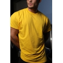 Muscle Guys Solid Color Short Sleeve Crew Neck Loose Fit T-shirt in Yellow