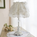 White Floral Night Lamp Pastoral Fabric 1 Head Bedroom Table Lighting with Lace Cover