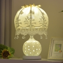 Globe Ceramic Table Lighting Pastoral Style 1 Head Bedroom Night Lamp with Lace Dome Lampshade