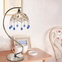 1 Head Hollowed Out Dome Table Light Pastoral Chrome Metal Nightstand Lamp with Gooseneck Arm and Crystal Drip