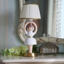 Kids Girl Statue Resin Night Light Single Bulb Table Lamp with Pleated Fabric Shade in White