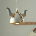 1-Light Bedroom Pendant Lamp Kids Grey and Gold Hanging Light with Viking Warrior Hat Metal Shade