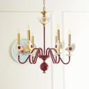 Candelabrum Chandelier Cartoon Metal 6-Light Dark Red and Gold Ceiling Pendant Lamp for Girl Bedroom