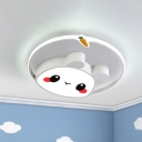 Cartoon Rabbit Kindergarten Flush Mount Acrylic Kids LED Ceiling Light Fixture in Pink/White for Bedroom