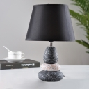 Handmade Ceramic Pebble Table Lamp Modern 1 Bulb Black/Grey Nightstand Light with Fabric Tapered Shade