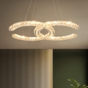 Double C-Shape Clear Crystal Chandelier Modern 8