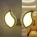 Modernism Leaf Sconce Lighting LED Crystal Prism Wall Light Fixture in White for Bedroom