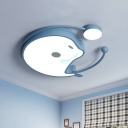 Macaroon Dolphin Acrylic Ceiling Light LED Flush Mount Recessed Lighting in White/Pink/Blue for Kids Bedroom