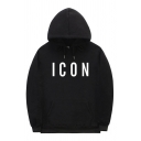 Letter Icon Print Casual Long Sleeve Drawstring Kangaroo Pocket Loose Fit Hoodie for Boys