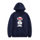 Cool Boys Cartoon Character Letter Graphic Long Sleeve Drawstring Loose Fit Hoodie with Pocket