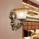 1/2-Light Wall Lamp Country Style Flared White Glass Wall Mounted Lamp in Brass with Curved Arm