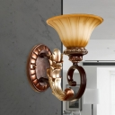 Flared Bedroom Wall Sconce Classic Style Frosted Ribbed Glass 1 Light Bronze Finish Wall Mount Lamp with Round Resin Backplate