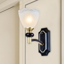 1/2-Bulb Wall Mount Light Country Clear Prismatic Glass Wall Lighting Fixture in Black