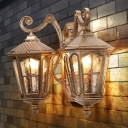 Bronze Lantern Wall Sconce Lamp Countryside Water Glass 2 Lights Outdoor Wall Light