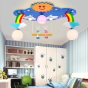 Blue/Pink Rainbow Flush Mount Glass Shade 5 Lights Ceiling Fixture for Kindergarten with Rabbit Decoration