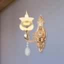 1/2-Head Matte Glass Wall Lighting Retro Rose Gold Urn Living Room Sconce with Crystal Droplet